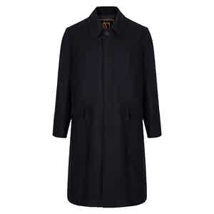 Black Sloop Single Breasted Wool Blend Overcoat