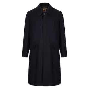 Black Sloop Single Breasted Wool Blend Overcoat