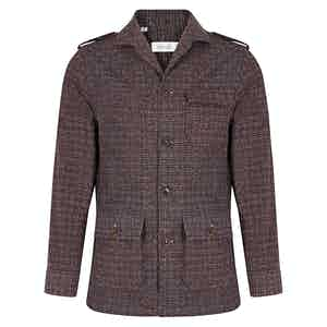 Red and Blue Wool Mottled Check Teba Jacket