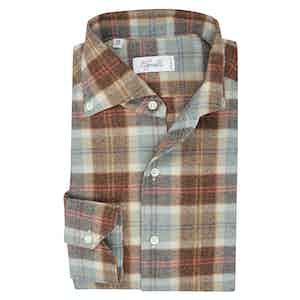 Brown, Blue and Orange Check Cotton Spread Collar Button Down Pique Shirt