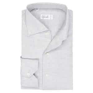 Light Grey Cotton Spread Collar Button Down Pique Shirt