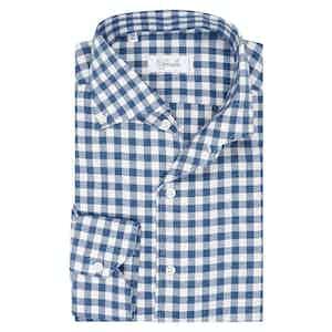 Blue Cotton Gingham Check Spread Collar Button Down Pique Shirt