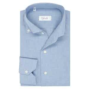 Light Blue Cotton Spread Collar Button Down Pique Shirt