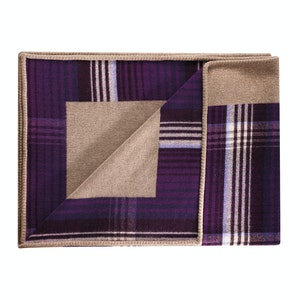 Damson and Oatmeal Lambswool Reversible 190x140 Throw
