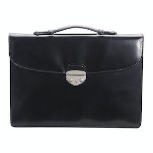 Black Saddle Hide Leather Hanover 1 Briefcase