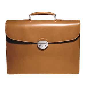 Cinnamon Saddle Hide Leather Hanover 1 Briefcase