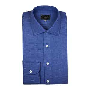 Blue And Navy Basket Weave Brushed Cotton Shirt