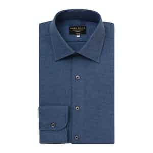 Deep Denim Blue Brushed Cotton shirt
