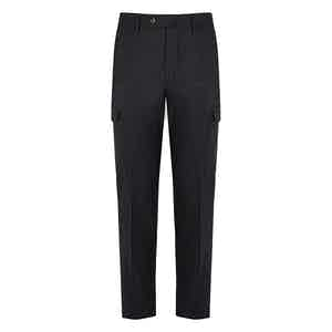 Grey Wool Cargo-Side Pocket Trousers