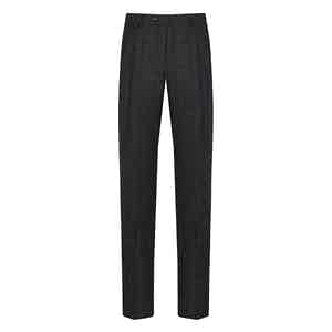 Grey Glen Plaid Check Wool Trousers