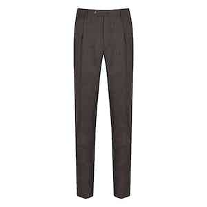 Red and Blue Check Wool Reverse-Facing Pleated Trousers