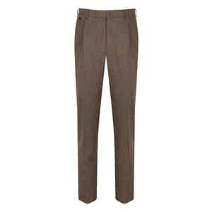 Brown Wool Flannel Gentleman Fit Reverse-Facing Pleated Trousers