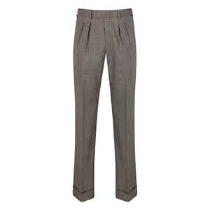 Red, White and Blue Check Wool Pleated Trousers