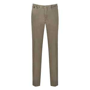 Stone Washed Cotton Flat Front Chinos