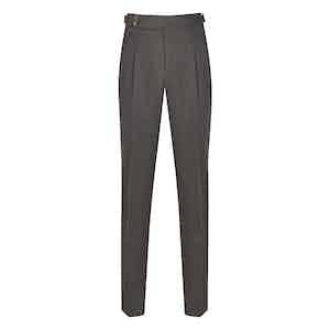 Light Grey Wool Flannel Pleated Trousers