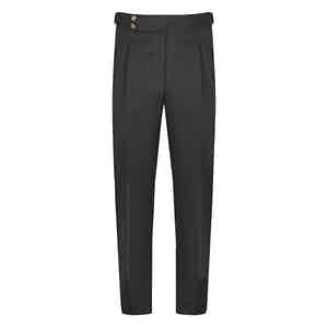 Charcoal Wool Flannel Pleated Trousers