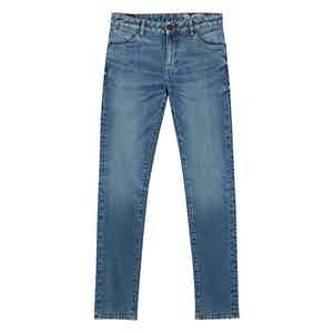 Medium Blue Cotton Denim Crosshatch Jeans