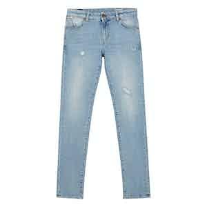 Light Blue Cotton Denim Jeans