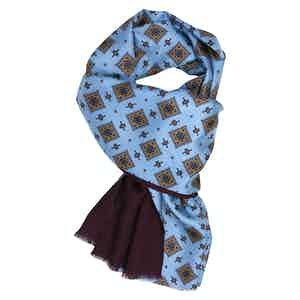 Light Blue and Burgundy Cashmere and Silk Scarf