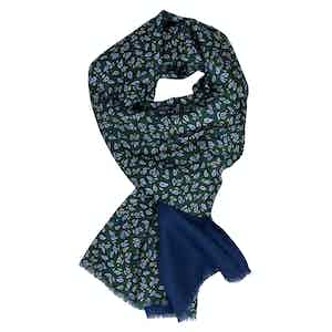 Green and Navy Paisley Cashmere and Silk Scarf