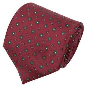 Burgundy Floral Print Silk Tie