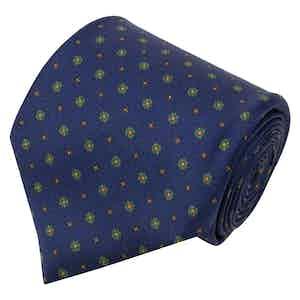 Navy Blue Floral Print Silk Tie