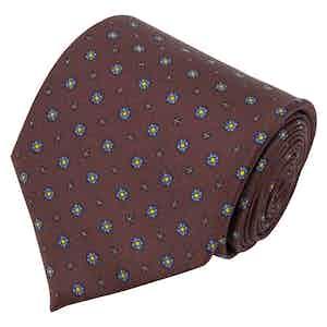 Brown Floral Print Silk Tie