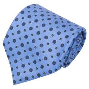 Light Blue Floral Print Silk Tie