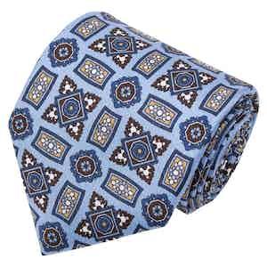 Light Blue Medallions Pattern Silk Tie