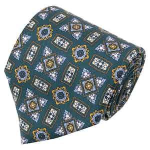 Green Medalliions Pattern Silk Tie