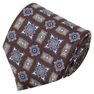 Brown Medalliions Pattern Silk Tie