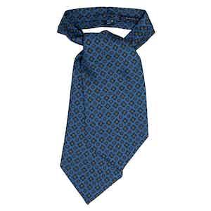 Light Blue Pattern Silk Ascot