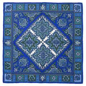 Blue Nabucco Silk Pocket Square