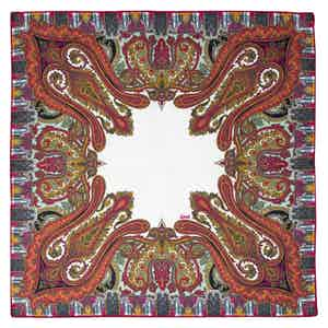 Red and White Paisley Roma Silk Pocket Square