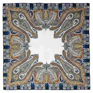 Blue and White Paisley Verona Silk Pocket Square
