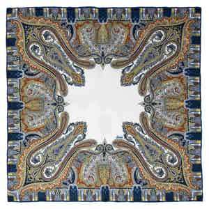 Blue and White Paisley Verona Silk Pocket Square