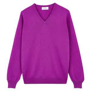 Purple Cashmere V-Neck Jumper