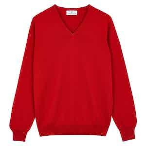 Red Cashmere V-Neck Jumper