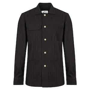 Black Cotton Chalk Stripe Overshirt