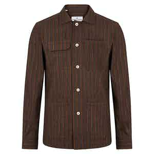 Brown Cotton Chalk Stripe Overshirt