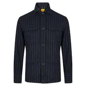 Navy Cotton Chalk Stripe Overshirt