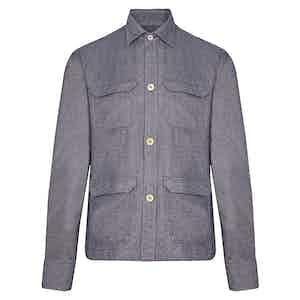 Indigo Cotton Twill Overshirt