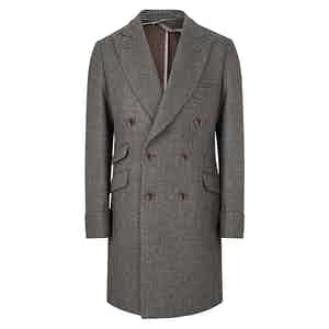 Grey Wool Houndstooth Double-Breasted Overcoat