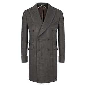 Grey and Black Check Double-Breasted Overcoat