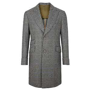 Grey and Blue Cashmere Houndstooth Single-Breasted Overcoat