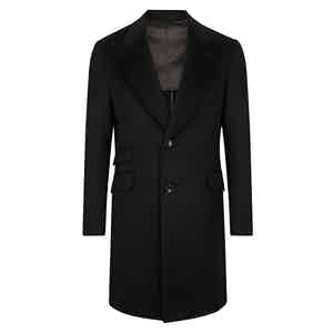 Black Cashmere Single-Breasted Overcoat