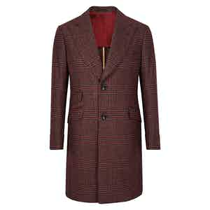 Maroon Wool Prince of Wales Check Single-Breasted Overcoat