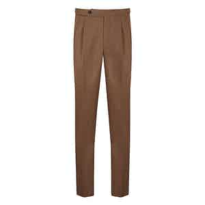 Light Brown Check Wool Trousers