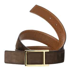 Bull-Calf Cognac with a yellow gold finish buckle Reversible belt in Nubuck
