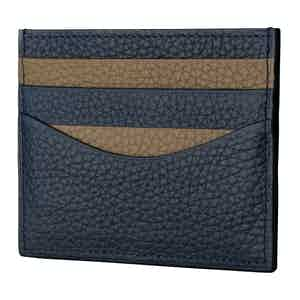 Navy and Linen Cardholder In Bull-Calf Leather